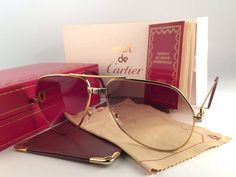 6bddd28463 Cartier Santos Screws 1983 59mm 18K Heavy Plated Sunglasses France 1980  Cartier Santos