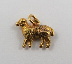 Sheep 10K Gold Vintage Charm For Bracelet by SilverHillz on Etsy