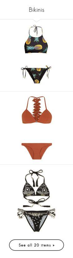 """Bikinis"" by pao-rj ❤ liked on Polyvore featuring swimwear, bikinis, swimsuit, bathing suit, brown, bikini bathing suits, bikini swimsuit, ruffle bikini, triangle swimsuit and ruffle bathing suit"