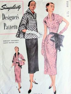 1950s SLIM DRESS, JACKET PATTERN LOW SHAPED NECKLINE, SASH, BEAUTIFUL FULL JACKET LOW INVERTED PLEAT SIMPLICITY DESIGNERS 8358