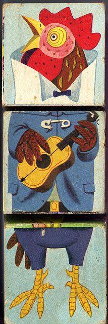 Changeable blocks playskool : coq musicien by Ribambelles & Ribambins, via Flickr