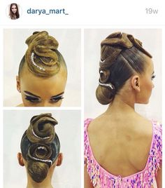 Low bun hairstyle with large swirls on the top for standard