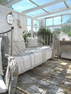 fabulous sunroom porch design. LOVE the neutral whites and grey tones
