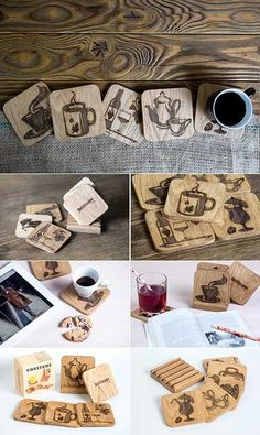 Drink Coasters with Holder - Set of 5 - Wood Bar Coasters for Glasses - Great Gift Idea - Wedding Birthday Gift - Ideal Furniture Kitchen Decor