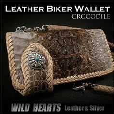 There is Wake! Long wallet / long wallet / riders wallet / crocodile / crown / vintage /Biker wallet/Crocodile/White/Leather/WILD HEARTS Leather&Silver