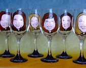 I love this idea for bridal party gift and maybe beer mugs for the groomsmen. Caricature glasses!