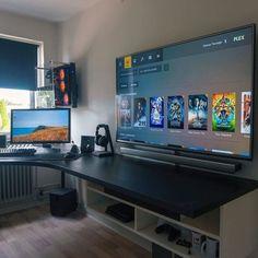 Mais de 40 melhores ideias de sala de jogos de vídeo para o Guia do Gamer Computer Desk Setup, Gaming Room Setup, Computer Gaming Room, Gaming Pcs, Computer Desk Organization, Best Gaming Setup, Cool Gaming Setups, Gamer Setup, Building A Gaming Desk