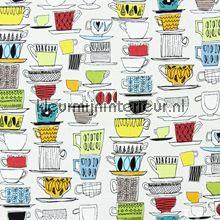 CUPS AND SAUCERS Vintage motieven en unis Prestigious Textiles