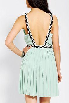 Sparkle & Fade Rope-Trim Open-Back Dress