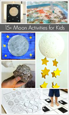 Great for astronomy! Science for Kids: Moon Themed Crafts and Activities for Kids- including moon sensory play, moon art projects, and moon learning activities! Moon Activities, Space Activities, Kids Learning Activities, Science Activities, Science Projects, Art Projects, Toddler Activities, Moon Projects, Space Projects