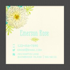 Personalized Business Card, Square Card, Watercolor Mum, Calling Card, Contact Card - Set of 48 by OlivineStationery on Etsy