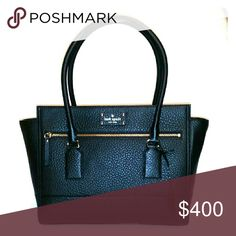 """Sawyer Street Oden Black leather Black polyester lining """"KATE SPADE NEW YORK ?"""" Gold metal detailing Long zipper pocket on outer front Black leather tag attachment on strap Large zipper lines most of the top Zipper pocket inside Two smaller slip pockets inside Straps fit comfortable on elbow or over shoulder Large, but not oversized  Brand new, gorgeous bag! kate spade Bags Totes"""