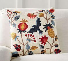 Folk Bird Pillow Cover