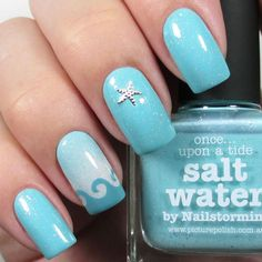Waves and starfish complement these nails. nail designs for summer nail designs for short nails 2019 self adhesive nail stickers nail art stickers how to apply full nail stickers Ocean Nail Art, Beach Nail Art, Beach Nail Designs, Nail Art Designs, Nails Design, Tropical Nail Designs, Tropical Nail Art, Salon Design, Wave Nails
