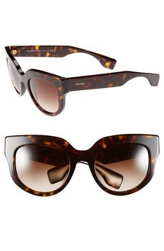 Prada 51mm Round Sunglasses available at #Nordstrom. Polished gradient-lens sunglasses epitomize bold, modern glamour, while logo inlays at the temples offer a signature flourish. $310.