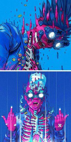 Arte Cyberpunk, Cyberpunk Aesthetic, Doodle Art, Pop Art, Character Art, Character Design, Wallpaper Animes, Psychedelic Art, Japan Art