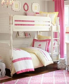 """Bunk beds don't have to look overly """"kiddie"""" or modern. This Pottery Barn Kids room setup makes for a traditional shared sleep space that incorporates plenty of pretty, feminine details. Girls Bunk Beds, Girls Bedroom, Bedroom Ideas, Bedrooms, Modern Bunk Beds, Shared Rooms, Little Girl Rooms, Pottery Barn Kids, My New Room"""