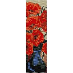 Poppies in Vase Peyote Bead Pattern, Bracelet Cuff, Bookmark, Seed Beading Pattern Miyuki Delica Size 11 Beads - PDF Instant Download