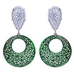 Paolo Costagli Pear shape lavender jade round green jade diamond Earrings
