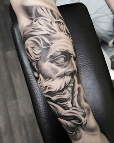 Greek god - Neptune - Poseidon - Zeus - statue tattoo by Matt Parkin @ Soular Tattoo - Christchurch - New Zealand
