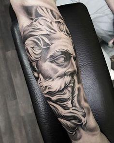 Greek god - Neptune - Poseidon - Zeus - statue tattoo by Matt Parkin @ Soular Tattoo - Christchurch - New Zealand