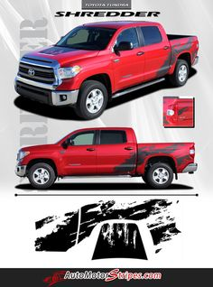 2014-2016 Toyota Tundra Shredder Hood and Truck Bed Decal 3M Vinyl Graphics Striping 3M Kit