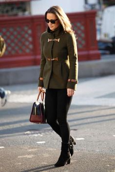 Pippa Middleton's Style Evolution  -  March 31, 2017:    NOVEMBER 15, 2011  -    Walking the London streets in an olive green peacoat with metal clasps.