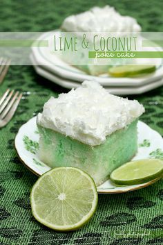 Lime and Coconut Poke Cake - A deliciously light and refreshing tropical taste combination that will send you to the islands with every bite. | freshlyphotographed.com
