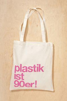 "Jutebeutel ""plastik ist 90er!"" // Totebag by plastik ist 90er! via DaWanda.com"
