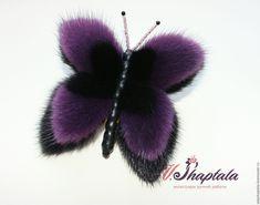 Купить Бабочка черно-фиолетовая - черный, брошь, брошь-бабочка, бабочка, бабочка из меха