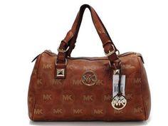 Michael Kors Khakee Noble Round Logo Leather Bag
