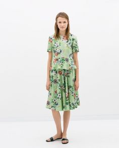 Zara Floral Peplum Top and Flared Skirt