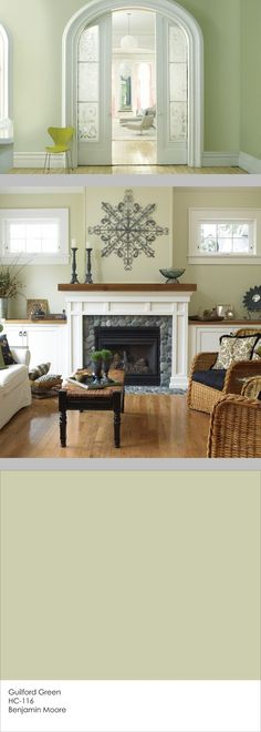 Benjamin Moore Guilford Green ~ A neutral silvery green that works with a wide range of color combinations, from neutrals to daring shades. With a slight grayish-brown undertone, it plays nicely with a variety of wood tones. It neither fades away nor competes with warm woods, making it an excellent choice if you have wood floors & a roomful of wood furniture.