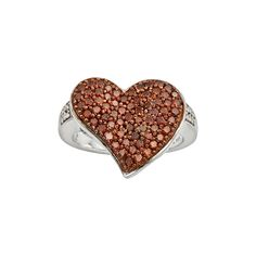 Sterling Silver 1-ct. T.W. Red and White Diamond Heart Ring, Women's, Size: 8