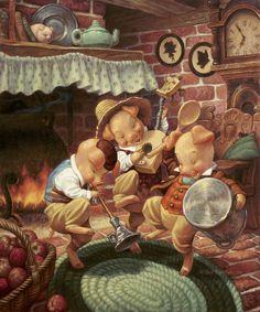 Scott Gustafson - Classic Fairy Tales with Three Little Pigs Art And Illustration, Classic Fairy Tales, Pig Art, Three Little Pigs, Fairytale Art, Alice In Wonderland, Illustrators, Fantasy Art, Animation