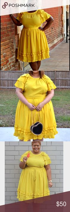 Yellow fit and flare ruffle dress Eloquii fit and flare ruffle dress in yellow! Extremely flattering and fun! Drawstring at waist and as you can see in the pics, it hits right around the knees. Eloquii Dresses Midi