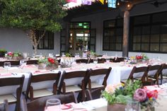 Lovely outdoor wedding reception held at the San Agustin Mercado in Tucson Az. Planned and coordinated by Soiree Girls
