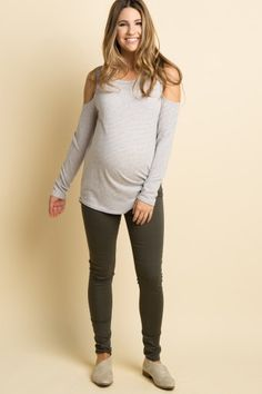 Olive Solid Maternity Pants