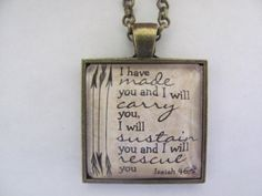 Bible Verse pendant Necklace Isaiah 46:4 on Etsy, $12.00