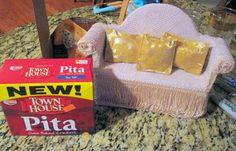 Turn a cracker box into a Barbie couch / sofa...Easy DIY 12 inch doll house furniture ideas