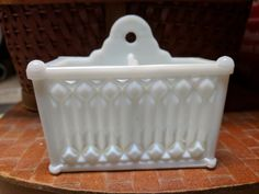 This would be very cool to re-purpose as a makeup brush holder, or to hold men's razor, or crochet hooks. Fenton Milk Glass, Pink Milk, Cobalt Glass, Vintage Planters, Vintage Dishes, Carnival Glass, Glass Collection, Antique Glass, Cut Glass