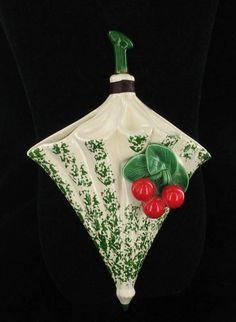 vintage umbrella w/ cherries wall pocket Cherry Baby, Cherry Cherry, Cherries Jubilee, Cherry Kitchen, Vintage Umbrella, Fruit Stands, Sweet Cherries, Vintage Planters, Retro Christmas