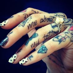 <3 Love these tattooed fingers. #ink #tattoos #nails