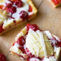 Cherry Kuchen Bars Recipe Desserts with butter, shortening, sugar, baking powder, salt, eggs, vanilla, all-purpose flour, cherry pie filling, powdered sugar, vanilla extract, milk