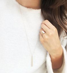 Sneakpeek of our gold plated sterling silver ring with a white chalcedony gemstone and our triangle bar necklace!  Lovely delicate jewelry with gems