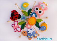 Mobile  Eule Vogel Schildkröte Blumen Käfer von Stoffdekor auf DaWanda.com