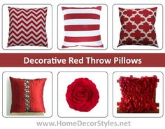 Decorative Red Throw Pillows. In a beautiful range of stunning designs and different shapes, here are red throw pillows on sale online. #redthrowpillows  #throwpillows