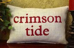 CRIMSON TIDE Stenciled Burlap Pillow