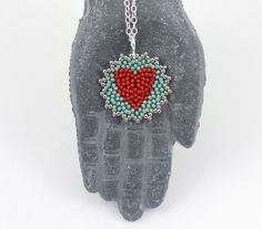 Beaded Heart Mandala Necklace vibrant red / by littlemusedesigns, $30.00