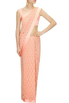Peach bow embroidery net sari with blouse piece available only at Pernia's Pop-Up Shop.